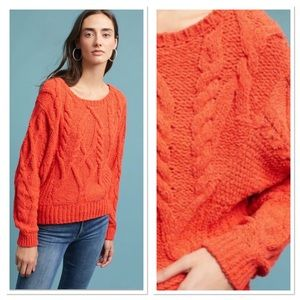 Anthropologie Orange Cable Knit Sweater Small